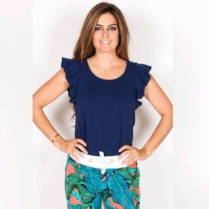 Tracy Begoshian Blue Kayla ruffle sleeve tank